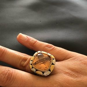 Jewelry - Gold and silver Citrine rope ring